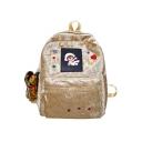 Cartoon Patched Solid Color Velvet Varsity Backpack for Girls 37*29*13 CM