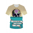Letter DAY OF THE DEAD Skull Printed Round Neck Short Sleeve Colorblocked Tee