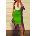 Summer Trend Colorblocked Sexy Plunged V-Neck Sleeveless Midi Night Club Bandage Dress