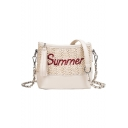 SUMMER Letter Pattern Weave Shoulder Crossbody Bag 15.5*18*8 CM