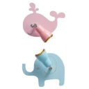 Blue/Pink Elephant/Whale Wall Light 1 Head Animal Wood Rotatable Sconce Light in Warm/White for Kindergarten