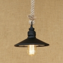 Cone Shade Dining Room Pendant Light Metal Rope Single Light Vintage Style Suspension Light