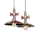 Industrial Scalloped Edge Pendant Lamp with Pipe 1 Light Aged Brass/Rust Suspension Light for Bar