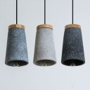 Tapered Shade Suspension Light Single Light Antique Style Cement Hanging Light for Restaurant