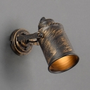 Hallway Cup Shade Wall Light Rotatable Metal Single Light Antique Style Aged Brass Sconce Light