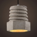 Gray Nut Shape Suspension Light 1 Light Industrial Cement Pendant Light for Dining Room