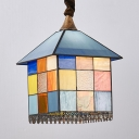 Restaurant House Shade Pendant Light Stained Glass 1 Light Tiffany Style Creative Hanging Lamp