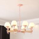 Dining Room Urn Chandelier Milk Glass 6 Lights Modern Green/Pink/Yellow Hanging Light