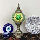 Single Head Globe Table Light Turkish Stained Glass Desk Light in Brass for Living Room