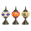 Stained Glass Trophy Desk Light Office 1 Light Handmade Moroccan Turkish Table Lamp in Blue/Red/White