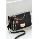 Stylish Solid Color Bear Pendant Embellishment Black Square Crossbody Bag 21*7*14 CM