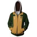 New Trendy Comic Cosplay Costume Zip Up Sport Casual Yellow and Green Hoodie