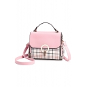 Popular Plaid Pattern Double Zipper Side Metal Ring Hasp Design School Satchel Shoulder Bag 23*10*18 CM