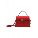 Women's Fashion Plain Rivet Embellishment Crossbody Satchel Bag 24*7*16 CM