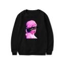 Vaporwave Funny Figure Letter I NEED YOU Pattern Basic Round Neck Long Sleeve Pullover Sweatshirt