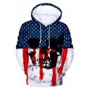 Independence Day Star Striped Hand Skull Printed Unisex Sport Casual Hoodie