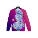 Vaporwave Stylish 3D Figure Sculpture Pattern Round Neck Long Sleeve Sweatshirt