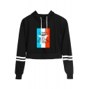 Memorial Day Simple Letter Printed Striped Long Sleeve Casual Sport Cropped Drawstring Hoodie