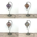 Art Deco Heart Desk Light Single Head Plug-In Stained Glass Table Lamp for Living Room