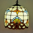 Tiffany Victorian Beige Hanging Light Bell Shade 1 Light Stained Glass Ceiling Pendant for Hallway