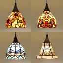Rustic Style Bell/Dome Pendant Light 1 Light Stained Glass Suspension Light for Stair Hallway