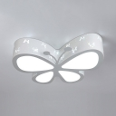 Metal Butterfly LED Ceiling Lamp Child Bedroom Cartoon Flush Mount Light in Green/Pink/White