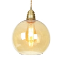 Simple Style Sphere Hanging Light Amber Glass 1 Light Brass Ceiling Light for Dining Room