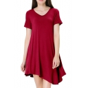 Basic Simple Plain V-Neck Short Sleeve Mini Asymmetrical T-Shirt Dress