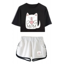 Lovely Cartoon Cat Letter DOG MOM Print Short Sleeve Crop Tee with Sport Dolphin Shorts Two-Piece Set