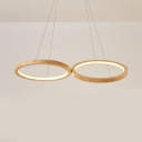 Wood Two-Ring Hanging Light Dining Table Modern Stylish Beige Chandelier in Neutral