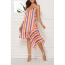 Summer New Trendy Colorful Striped Pattern V-Neck Sleeveless Asymmetrical Hem Midi Cami Dress