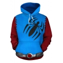 Cool Fashion Color Block Spider Printed Long Sleeve Blue Hoodie