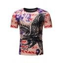 Guys Summer New Stylish Eagle Pattern Basic Round Neck Short Sleeve Fitted T-Shirt