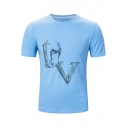 Cool Figure Letter V Pattern Basic Short Sleeve Round Neck Graphic Tee