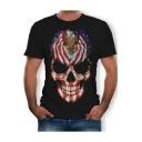 Cool Flag Skull Pattern Round Neck Short Sleeve Black T-Shirt