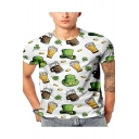 Funny Green Hat and Leaf Beer Pattern Round Neck Short Sleeve White T-Shirt