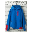 Mens Unique Colorblocked Hooded Long Sleeve Zip Up Thin Sport Track Jacket Coat