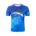 Creative 3D Feather Ring Pattern Round Neck Short Sleeve Blue T-Shirt