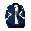 Stylish Colorblock Stand Collar Long Sleeve Zipper Front Fleece Sweatshirt Jacket