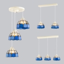 Glass Lattice Bowl Suspension Light Living Room 2/3 Lights Nautical Style Island Light in Blue