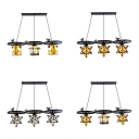 3 Lights Suspension Light with Bird and Wheel Tiffany Antique Glass Hanging Lamp for Bar