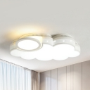 Acrylic Hollow Cloud Ceiling Light Bedroom Contemporary LED Flush Mount Light in Warm/White