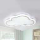 Baby Bedroom Cloud Ceiling Mount Light Acrylic Simple Style LED Flush Light in Warm/White