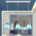 Dining Table Conical Pendant Light Glass 3 Lights Simple Style Blue Suspension Light