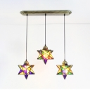 Multi-Color Star Island Lamp 3 Lights Vintage Style Glass Pendant Light for Living Room