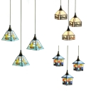 Glass Boat/Deer/House Pendant Light 3 Lights Rustic Style Ceiling Pendant for Hallway Dining Table