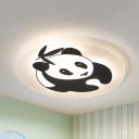Animal Black LED Ceiling Mount Light Panda Acrylic Flush Light in Warm/White/Third for Baby Bedroom