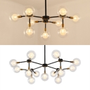 Orb Living Room Chandelier Twig Shape Metal 9/13 Lights Simple Style Pendant Lamp in Black