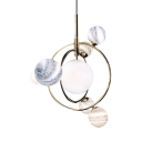 Creative Gold Pendant Light Orb 7 Lights Glass Metal Chandelier with Ring for Dining Table