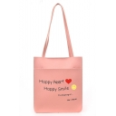 Fashion Letter HAPPY HEART HAPPY SMILE Emoji Printed Large Capacity School Shoulder Bag 26*30*9 CM